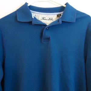 Tasso Elba mens medium blue long sleeve Polo Style